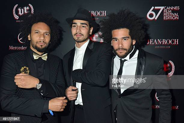 Actors Yassine Azzouz Willy Cartier and Axel des Jumeaux attend the VIP Room JW Marriott Day 2 the Wiz Khalifa Party The 67th Annual Cannes Film...
