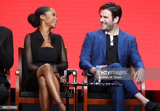 Actors Yaya DaCosta and Colin Donnell speak onstage at the 'Chicago Med' panel discussion during the NBCUniversal portion of the 2016 Television...