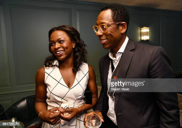 Actors Yetide Badaki and Orlando Jones attend 'American Gods' Junket Mixer at Soho House on May 18 2017 in New York City