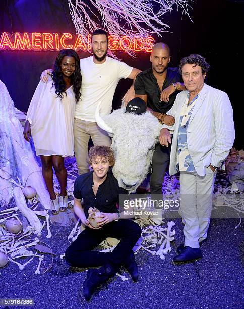 Actors Yetide Badaki Pablo Schreiber Bruce Langley Ricky Whittle and Ian McShane attend the 'American Gods' autograph signing during ComicCon...