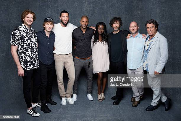 Actors Yetide Badaki Pablo Schreiber Bruce Langley Ricky Whittle Ian McShane and author Neil Gaiman of 'American Gods' are photographed for Los...