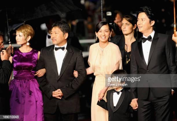 Actors Yoko Maki director Hirokazu Koreeda actors Machiko Ono Keita Ninomiya and Masaharu Fukuyama attend the 'Soshite Chichi Ni Naru' Premiere...