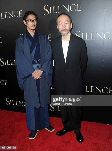 Actors Yosuke Kubozuka and Shinya Tsukamoto arrive for the Premiere Of Paramount Pictures' 'Silence' held at Directors Guild Of America on January 5...