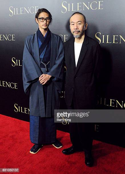 Actors Yosuke Kubozuka and Shinya Tsukamoto attend the premiere of Paramount Pictures' 'Silence' at Directors Guild Of America on January 5 2017 in...