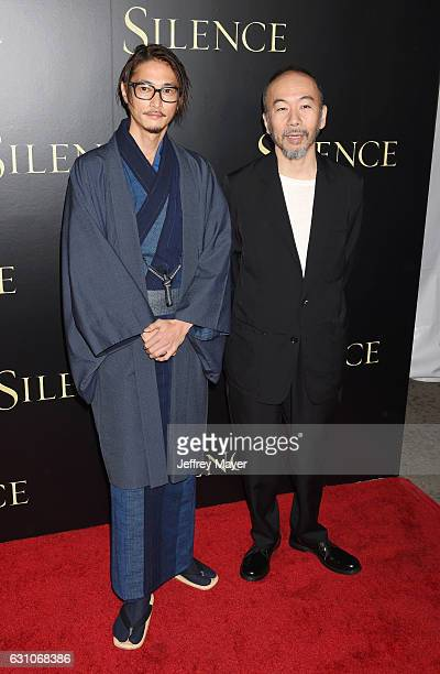 Actors Yosuke Kubozuka and Shinya Tsukamoto attend the premiere of Paramount Pictures' 'Silence' at the Directors Guild Of America on January 5 2017...