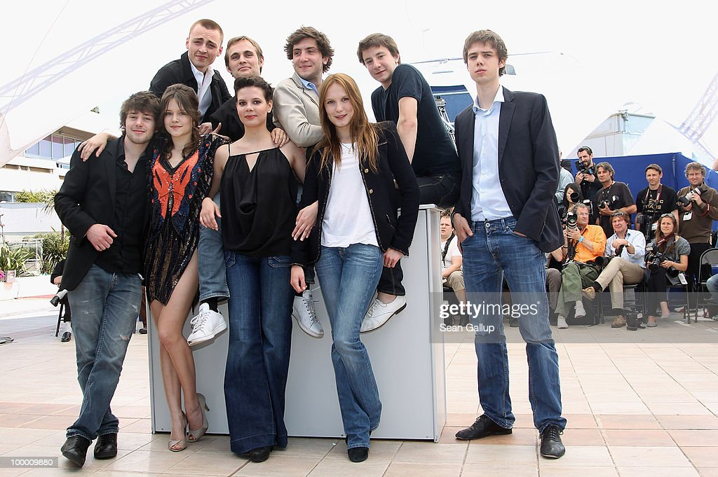 Actors Yvan Tassin,Arthur Mazet director Fabrice Gobert with actress Ana Girardot, (Front Row - Left to Right) actresses Audrey Bastien, Selma El Moussi with actors Esteben Carvajal-Alegria,Laurent Delbecque,Jules Pelissier attends the 'Lights Out' Photocall at the Palais des Festivals during the 63rd Annual Cannes Film Festival on May 20, 2010 in Cannes, France.