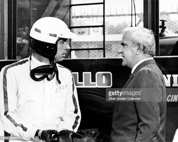 Actors Yves Montand as JeanPierre Sarti and Adolfo Celi as Agostini Manetta in the film 'Grand Prix' 1966