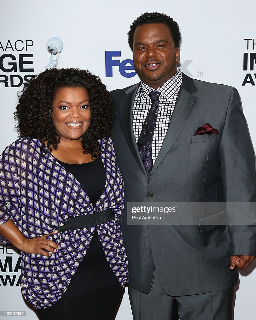 Actors <a gi-track='captionPersonalityLinkClicked' href=/galleries/search?phrase=Yvette+Nicole+Brown&family=editorial&specificpeople=4420097 ng-click='$event.stopPropagation()'>Yvette Nicole Brown</a> (L) and Craig Robinson (R) attend the 44th NAACP Image Awards nominee's luncheon on January 26, 2013 in Beverly Hills, California.