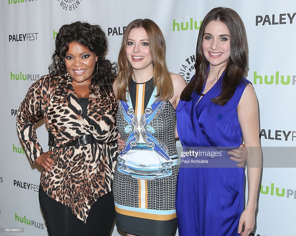 Actors <a gi-track='captionPersonalityLinkClicked' href=/galleries/search?phrase=Yvette+Nicole+Brown&family=editorial&specificpeople=4420097 ng-click='$event.stopPropagation()'>Yvette Nicole Brown</a>, <a gi-track='captionPersonalityLinkClicked' href=/galleries/search?phrase=Gillian+Jacobs&family=editorial&specificpeople=4836757 ng-click='$event.stopPropagation()'>Gillian Jacobs</a> and <a gi-track='captionPersonalityLinkClicked' href=/galleries/search?phrase=Alison+Brie&family=editorial&specificpeople=5447578 ng-click='$event.stopPropagation()'>Alison Brie</a> attend the 30th annual PaleyFest featuring the cast of 'Community' at the Saban Theatre on March 5, 2013 in Beverly Hills, California.