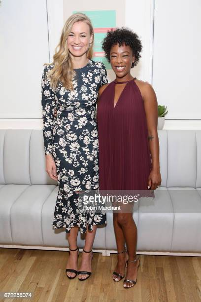 Actors Yvonne Strahovski and Samira Wiley attend a VIP screening of the Original Series 'The Handmaid's Tale' presented by Hulu at The Wing on April...