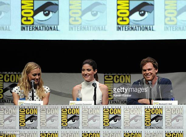 Actors Yvonne Strahovski Jennifer Carpenter and Michael C Hall speak onstage at Showtime's 'Dexter' panel during ComicCon International 2013 at San...