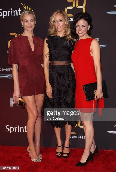 Actors Yvonne Strahovski Kim Raver and Mary Lynn Rajskub attend '24 Live Another Day' World Premiere at Intrepid Sea on May 2 2014 in New York City