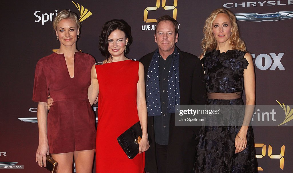 Actors Yvonne Strahovski Mary Lynn Rajskub Kiefer Sutherland and Kim Raver attend '24 Live Another Day' World Premiere at Intrepid Sea on May 2 2014...