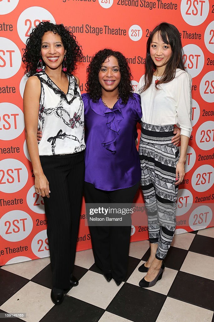 Actors Zabryna Guevara, Liza Colon-Zayas and Sue Jean Kim attend the 'Water By The Spoonful' Opening Night Celebration at Dave & Buster's Time Square on January 8, 2013 in New York City.