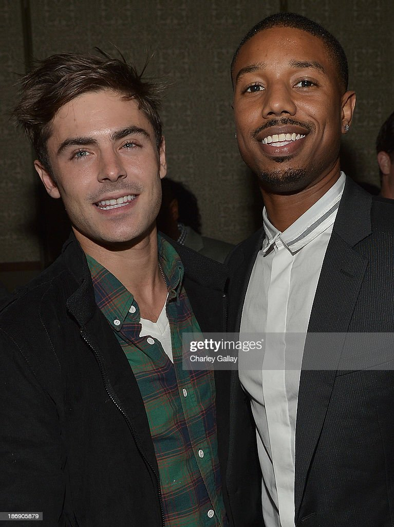 Actors Zac Efron and Michael B Jordan attend the Vanity Fair event honoring Michael B Jordan of 'Fruitvale Station' at Soho House on November 4 2013...