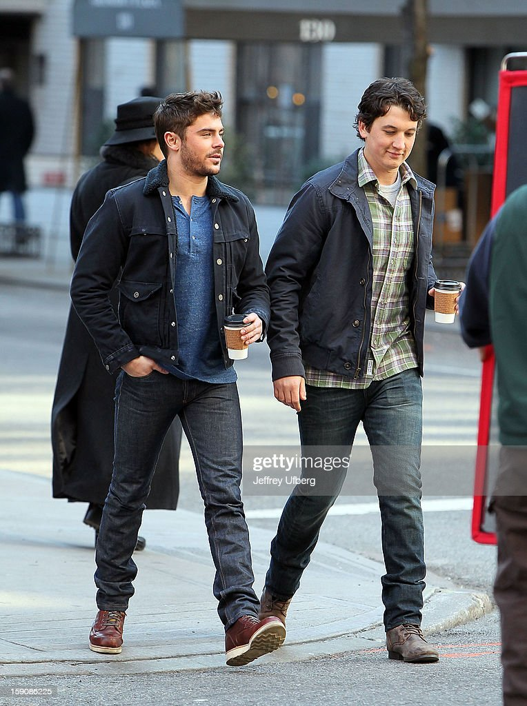 Actors <a gi-track='captionPersonalityLinkClicked' href=/galleries/search?phrase=Zac+Efron&family=editorial&specificpeople=533070 ng-click='$event.stopPropagation()'>Zac Efron</a> and <a gi-track='captionPersonalityLinkClicked' href=/galleries/search?phrase=Miles+Teller&family=editorial&specificpeople=6471673 ng-click='$event.stopPropagation()'>Miles Teller</a> filming on location for 'Are We Officially Dating?' on January 7, 2013 in New York City.