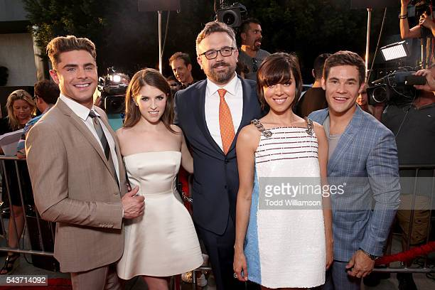 Actors Zac Efron Anna Kendrick writer/director Jake Szymanski and actors Aubrey Plaza and Adam Devine attend the premiere of 20th Century Fox's 'Mike...