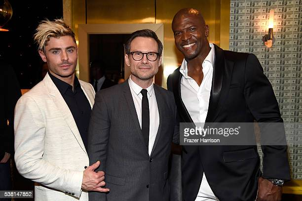 Actors Zac Efron Christian Slater and Terry Crews attend Spike TV's 10th Annual Guys Choice Awards at Sony Pictures Studios on June 4 2016 in Culver...