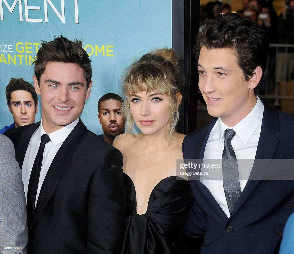 Actors Zac Efron Imogen Poots and Miles Teller arrive to the Los Angeles premiere of 'That Awkward Moment' at Regal Cinemas LA Live on January 27...
