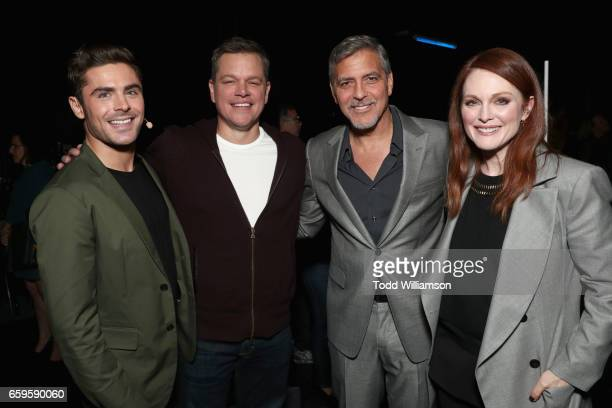 Actors Zac Efron Matt Damon George Clooney and Julianne Moore at CinemaCon 2017 Paramount Pictures Presentation Highlighting Its Summer of 2017 and...