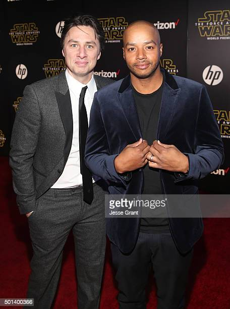 "Actors Zach Braff and Donald Faison attend the World Premiere of ""Star Wars The Force Awakens"" at the Dolby El Capitan and TCL Theatres on December..."