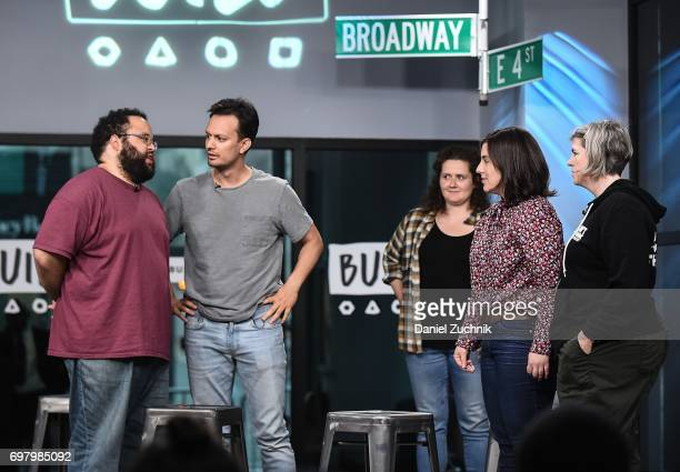 Actors Zach Cherry Chelsea Clarke Michael Cruz Kayne Abra Tabak and Shannon O'Neill members of the Upright Citizens Brigade Theatre visit Build to...