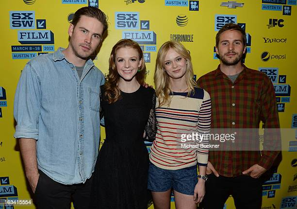 Actors Zach Cregger Ashley Bell Sara Paxton and Michael StahlDavid attend the photo op for 'The Bounceback' during the 2013 SXSW Music Film...