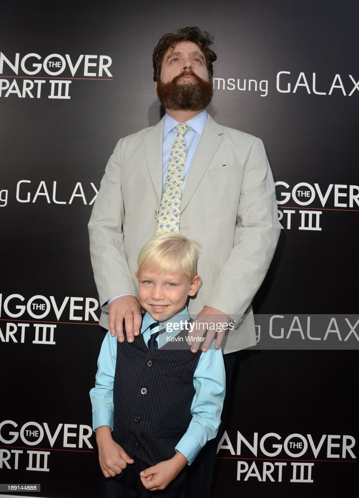 Actors <a gi-track='captionPersonalityLinkClicked' href=/galleries/search?phrase=Zach+Galifianakis&family=editorial&specificpeople=2154769 ng-click='$event.stopPropagation()'>Zach Galifianakis</a> and Grant Holmquist arrive at the premiere of Warner Bros. Pictures' 'Hangover Part 3' on May 20, 2013 in Westwood, California.