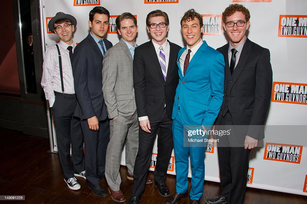Actors Zach Jones, Austin Moorehead, Brian Gonzales, Matt Cusack, Jason Rabinowitz and Charlie Rosen attend the 'One Man, Two Guvnors' opening night party>> at The Liberty Theatre on April 18, 2012 in New York City.