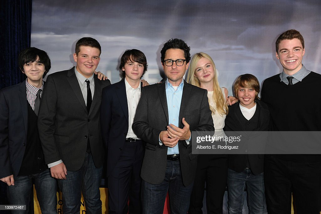 Actors Zach Mills, Riley Griffiths, Joel Courtney, Director/Writer J.J. Abrams, actors Elle Fanning, Ryan Lee and Gabriel Basso arrive to Paramount Pictures' 'Super 8' Blu-ray and DVD release party at AMPAS Samuel Goldwyn Theater on November 22, 2011 in Beverly Hills, California.