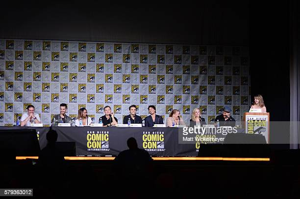 Actors Zach Roerig Michael Malarkey Kat Graham writer/producer Kevin Williamson actors Paul Wesley and Ian Somerhalder writer/producer Julie Plec...