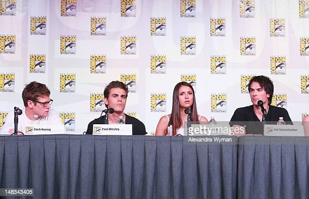 Actors Zach Roerig Paul Wesley Nina Dobrev and Ian Somerhalder speak at 'The Vampire Diaries' screening during ComicCon International 2012 at San...