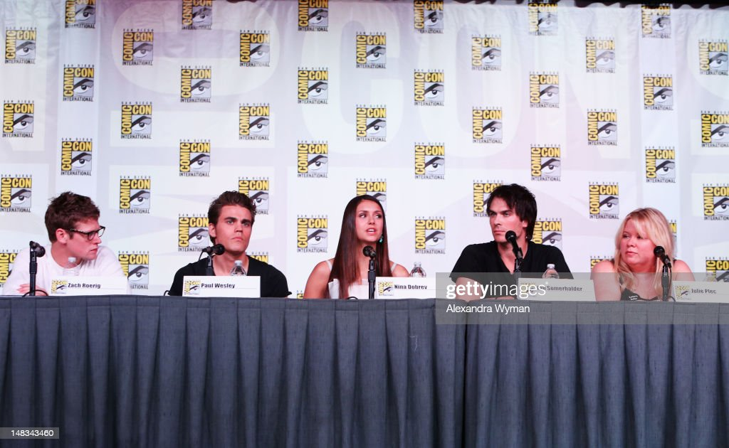 Actors Zach Roerig, Paul Wesley, Nina Dobrev, Ian Somerhalder, and producer Julie Plec speak at 'The Vampire Diaries' screening during Comic-Con International 2012 at San Diego Convention Center on July 14, 2012 in San Diego, California.