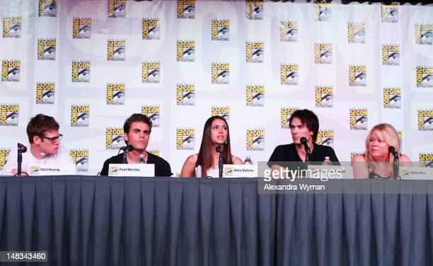 Actors Zach Roerig Paul Wesley Nina Dobrev Ian Somerhalder and producer Julie Plec speak at 'The Vampire Diaries' screening during ComicCon...