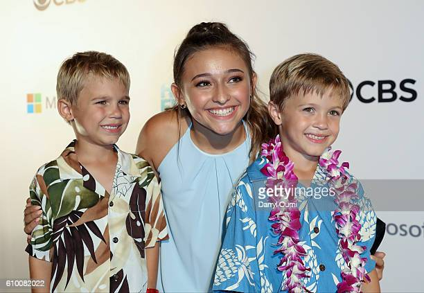 Actors Zach Sulzbach Teilor Grubbs and Luke Salzbach pose for a photo as the arrive at the CBS 'Hawaii Five0' Sunset On The Beach Season 7 Premier...