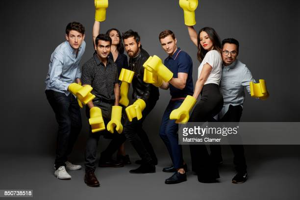 Actors Zach Woods Kumail Nanjiani Abbi Jacobson Justin Theroux Dave Franco Olivia Munn and Michael Pena from The Lego Ninjago Movie are photographed...