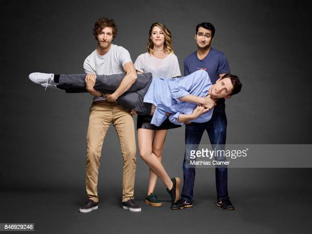 Actors Zach Woods Thomas Middleditch Amanda Crew and Kumail Nanjiani from 'Silicon Valley' are photographed for Entertainment Weekly Magazine on July...