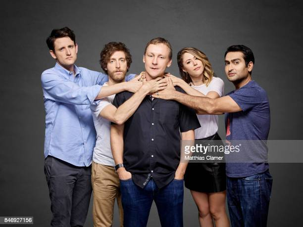 Actors Zach Woods Thomas Middleditch Amanda Crew Kumail Nanjiani with executive producer Alec Berg from 'Silicon Valley' are photographed for...