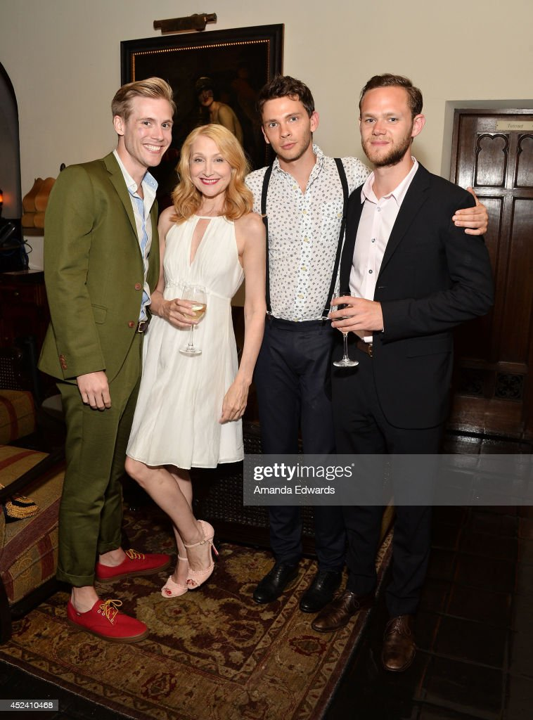 Actors <a gi-track='captionPersonalityLinkClicked' href=/galleries/search?phrase=Zachary+Booth&family=editorial&specificpeople=4839749 ng-click='$event.stopPropagation()'>Zachary Booth</a>, <a gi-track='captionPersonalityLinkClicked' href=/galleries/search?phrase=Patricia+Clarkson&family=editorial&specificpeople=202994 ng-click='$event.stopPropagation()'>Patricia Clarkson</a>, <a gi-track='captionPersonalityLinkClicked' href=/galleries/search?phrase=Devon+Graye&family=editorial&specificpeople=3454172 ng-click='$event.stopPropagation()'>Devon Graye</a> and <a gi-track='captionPersonalityLinkClicked' href=/galleries/search?phrase=Joseph+Cross&family=editorial&specificpeople=542695 ng-click='$event.stopPropagation()'>Joseph Cross</a> arrive at the Water's End Productions and Gran Via Productions Film 'Last Weekend' cast dinner at Chateau Marmont on July 19, 2014 in Los Angeles, California.