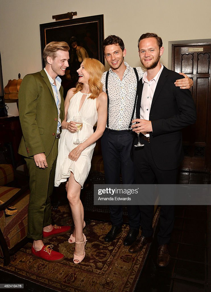 Actors Zachary Booth, Patricia Clarkson, Devon Graye and Joseph Cross arrive at the Water's End Productions and Gran Via Productions Film 'Last Weekend' cast dinner at Chateau Marmont on July 19, 2014 in Los Angeles, California.