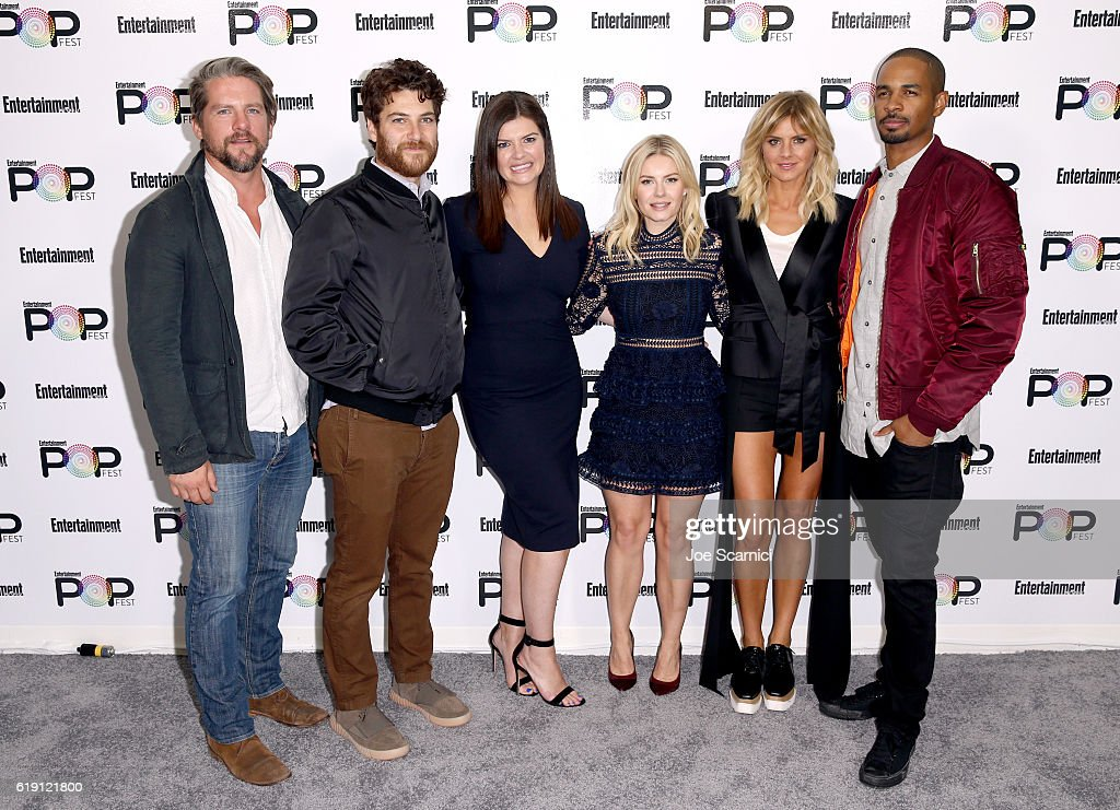 Actors Zachary Knighton, Adam Pally, Casey Wilson, Elisha Cuthbert, Eliza Coupe and Damon Wayans Jr. pose backstage during Entertainment Weekly's PopFest at The Reef on October 29, 2016 in Los Angeles, California.