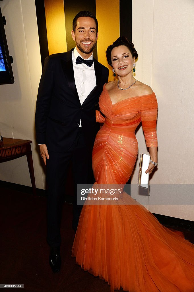 Actors Zachary Levi (L) and Fran Drescher attend the 68th Annual Tony Awards at Radio City Music Hall on June 8, 2014 in New York City.