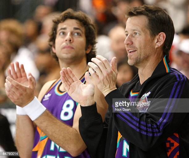 Actors Zachary Levi and James Denton applaud during the McDonald's AllStar Celebrity Game held at the Phoenix Convention Center on February 13 2009...