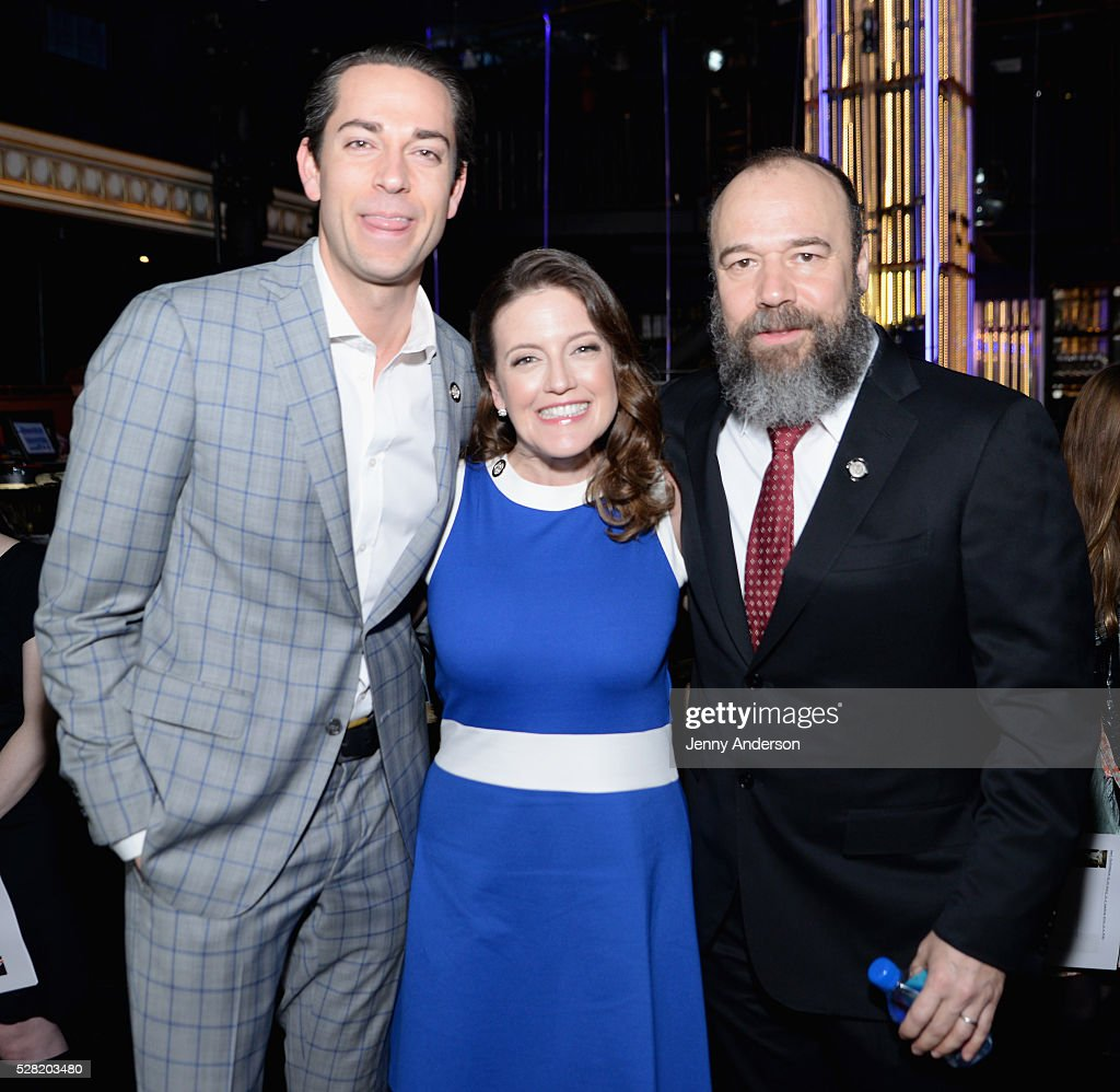 Actors <a gi-track='captionPersonalityLinkClicked' href=/galleries/search?phrase=Zachary+Levi&family=editorial&specificpeople=242766 ng-click='$event.stopPropagation()'>Zachary Levi</a>, Jennifer Simard, and Danny Burnstein attend the 2016 Tony Awards Meet The Nominees Press Reception on May 4, 2016 in New York City.