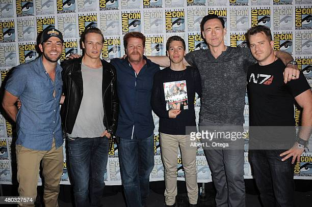 Actors Zachary Levi Sam Heughan Michael Cudlitz Jordan Gavaris Kevin Durand and Robert Kazinsky attend the Entertainment Weekly Brave New Warriors...