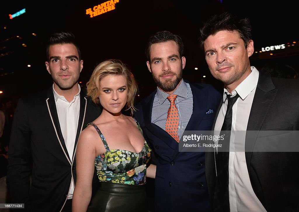 Actors <a gi-track='captionPersonalityLinkClicked' href=/galleries/search?phrase=Zachary+Quinto&family=editorial&specificpeople=715956 ng-click='$event.stopPropagation()'>Zachary Quinto</a>, <a gi-track='captionPersonalityLinkClicked' href=/galleries/search?phrase=Alice+Eve+-+Actress&family=editorial&specificpeople=570229 ng-click='$event.stopPropagation()'>Alice Eve</a>, <a gi-track='captionPersonalityLinkClicked' href=/galleries/search?phrase=Chris+Pine&family=editorial&specificpeople=641995 ng-click='$event.stopPropagation()'>Chris Pine</a> and <a gi-track='captionPersonalityLinkClicked' href=/galleries/search?phrase=Karl+Urban&family=editorial&specificpeople=2139847 ng-click='$event.stopPropagation()'>Karl Urban</a> attend the after party for the premiere of Paramount Pictures' 'Star Trek Into Darkness' at AV Nightclub on May 14, 2013 in Hollywood, California.