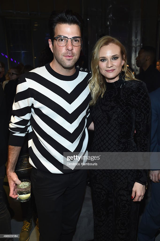 Actors Zachary Quinto (L) and Diane Kruger attend the BALMAIN X H&M Collection Launch at 23 Wall Street on October 20, 2015 in New York City.
