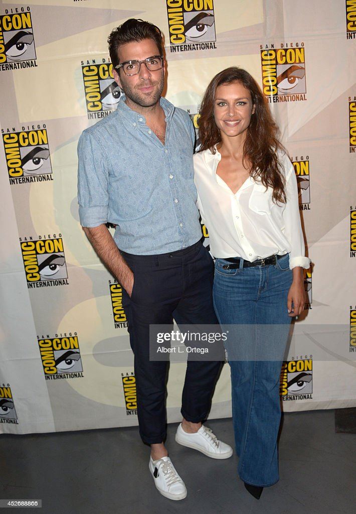 Actors <a gi-track='captionPersonalityLinkClicked' href=/galleries/search?phrase=Zachary+Quinto&family=editorial&specificpeople=715956 ng-click='$event.stopPropagation()'>Zachary Quinto</a> (L) and <a gi-track='captionPersonalityLinkClicked' href=/galleries/search?phrase=Hannah+Ware&family=editorial&specificpeople=8005898 ng-click='$event.stopPropagation()'>Hannah Ware</a> attend the 20th Century Fox presentation during Comic-Con International 2014 at San Diego Convention Center on July 25, 2014 in San Diego, California.