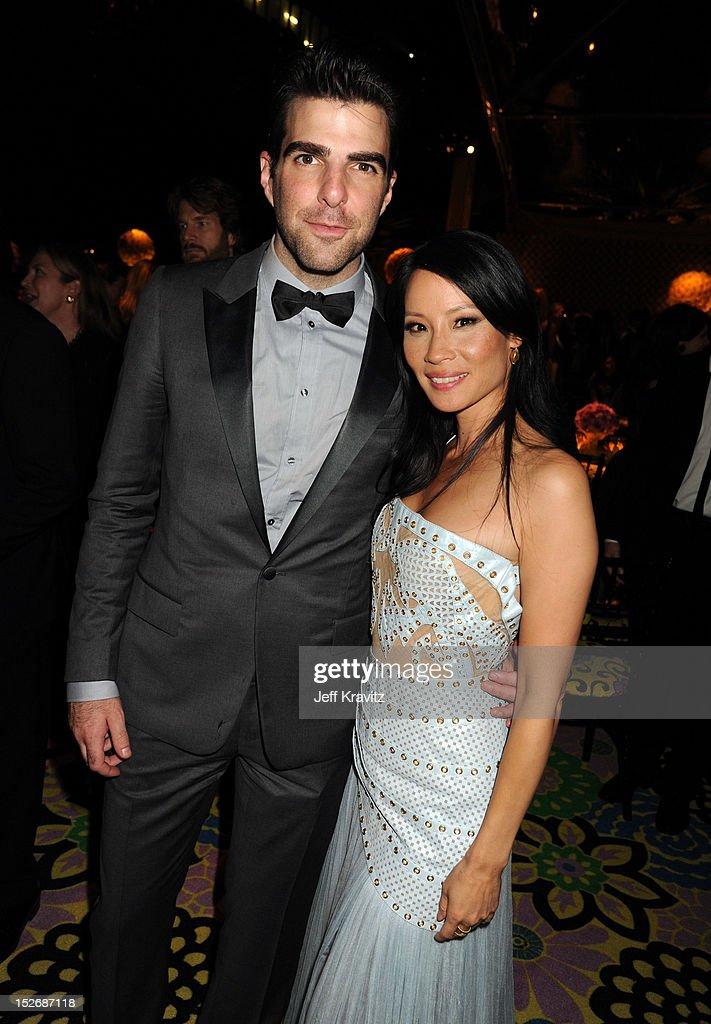 Actors Zachary Quinto and Lucy Liu attend HBO's Official Emmy After Party at The Plaza at the Pacific Design Center on September 23, 2012 in Los Angeles, California.