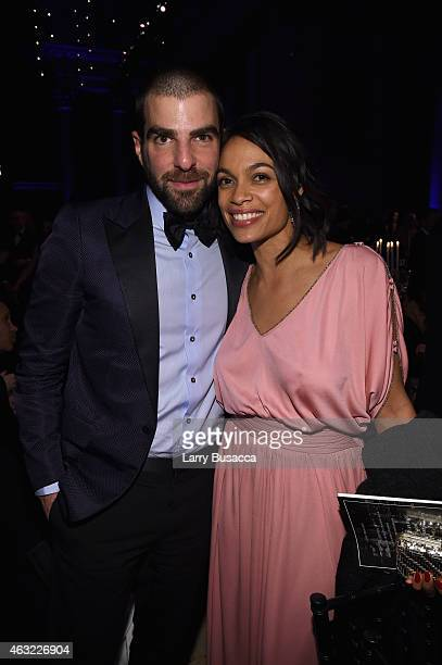 Actors Zachary Quinto and Rosario Dawson attend the 2015 amfAR New York Gala at Cipriani Wall Street on February 11 2015 in New York City